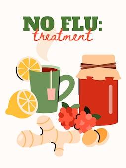 Plakat bez leczenia grypy z domowymi lekarstwami -