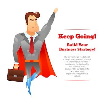 Plakat biznesmen superbohatera