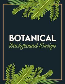 Plakat botaniczny z liśćmi i złotą ramką