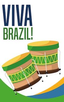 Plakat brazylijskiej kultury i turystyki z bębnami