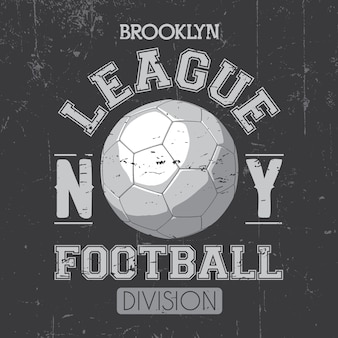 Plakat brooklyn league z piłką nożną i podziałem słów na szarym rysunku
