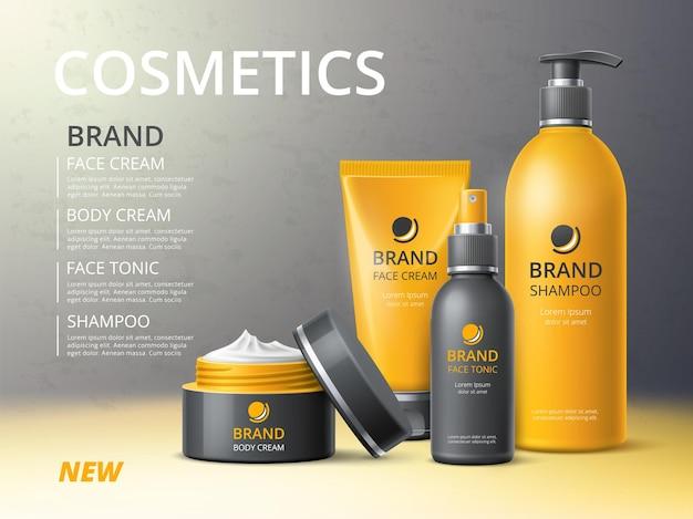Plakat butelek kosmetyków. kosmetyki do pielęgnacji skóry i włosów, realistyczne obiekty makieta 3d, kremy, szampony i toniki plastikowe pojemniki, baner reklamowy, koncepcja na białym tle wektor