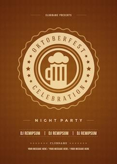 Plakat celebracja festiwalu piwa oktoberfest retro typografii