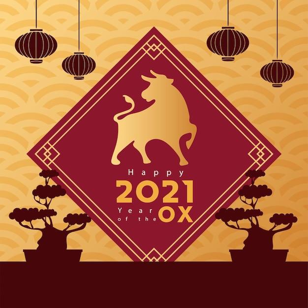 Plakat chiński nowy rok ze złotym wół i bonsais