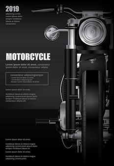Plakat chopper motocykl na białym tle ilustracji wektorowych