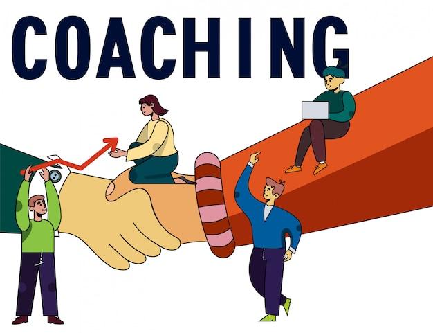Plakat coachingowy z ludźmi i uściskiem dłoni