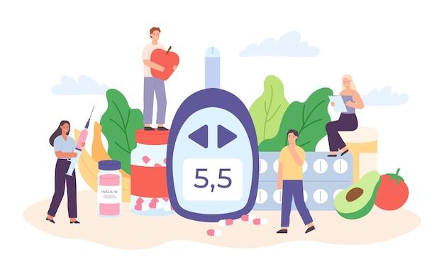 Plakat cukrzyca z postaciami. drobni ludzie z dietą, leki na cukrzycę i glukometry dla koncepcji wektora badania poziomu cukru we krwi. ilustracja zdrowe odżywianie i żywność dla diabetyków