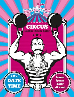 Plakat cyrkowy retro vintage wektor. plakat rocznika cyrku, projekt baneru cyrkowego, ilustracja wydajności cyrku