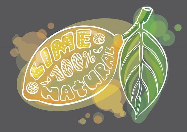 Plakat cytryna z napisem liści