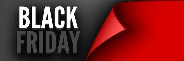 Plakat czarny piątek. czerwona wstążka z zakrzywioną krawędzią
