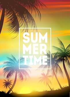 Plakat czasu letniego. tekst z ramką na palmy i zachód słońca