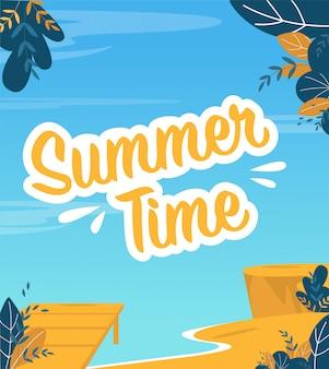Plakat czasu letniego w morskiej modnej płaskiej konstrukcji