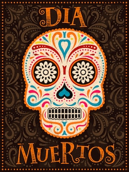 Plakat day of the dead, kolorowo malowana czaszka z kwiatowym wzorem, dia muertos to hiszpańska nazwa wakacji