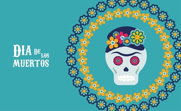 Plakat dia de los muertos z czaszką katrina w kwiecistej okrągłej ramie