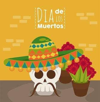Plakat dia de los muertos z czaszką mariachi i kwiatami