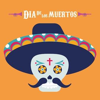 Plakat dia de los muertos z czaszką mariachi i napisami