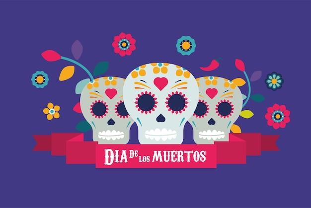 Plakat dia de los muertos z czaszkami i kwiatami w projekcie ilustracji ramki wstążki