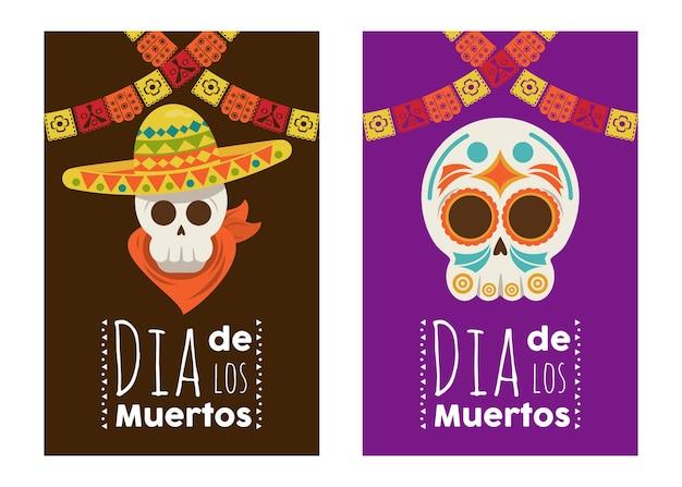 Plakat dia de los muertos z czaszkami mariachi