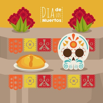 Plakat dia de los muertos z głową czaszki i jedzeniem