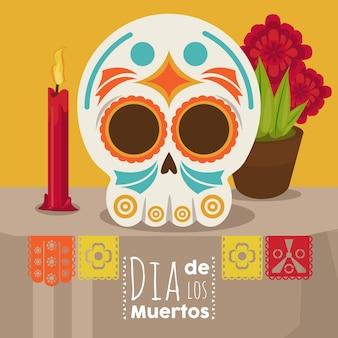 Plakat dia de los muertos z głową czaszki, świecą i kwiatami