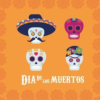 Plakat dia de los muertos z ilustracją przedstawiającą głowy czaszek