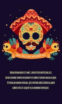 Plakat día de los muertos z kolorowymi meksykańskimi kwiatami