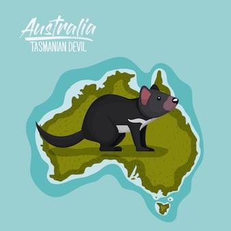 Plakat diabeł tasmański w australii mapę