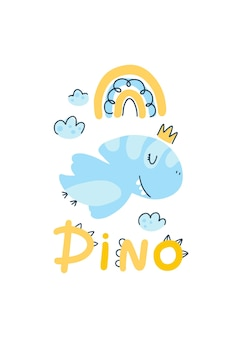 Plakat dino baby księżniczka z uroczym napisem. dziecinne proste kreskówki skandynawskie doodle stylu. komiksowa czcionka idealna dla pielęgniarek pokojowych. paleta pastelowa.