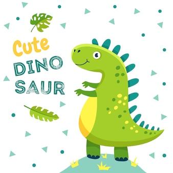 Plakat dinozaurów. słodkie dziecko dino śmieszne potwory zwierzęta jurajskie smok dinozaury moda dzieci t-shirt tło