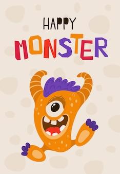 Plakat dla dzieci z zabawnym potworem w stylu kreskówki