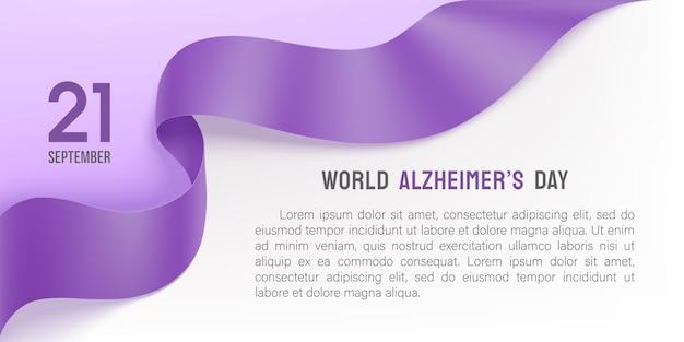 Plakat dnia alzheimera z fioletową wstążką