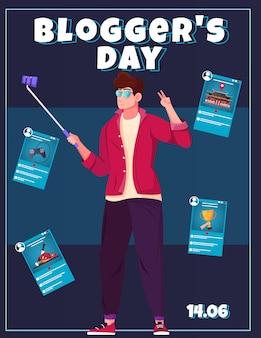 Plakat dnia blogerów z młodym facetem prowadzącym raport online za pomocą smartfona i kijka do selfie