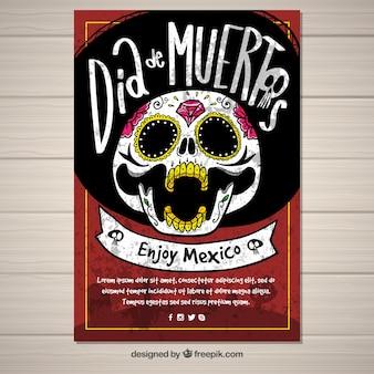 Plakat dnia deads z ręcznie rysowaną czaszką