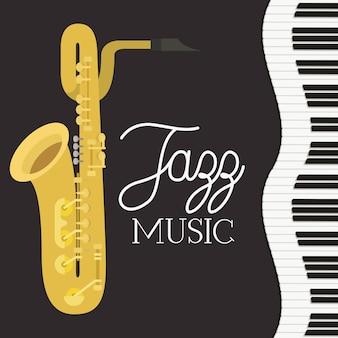 Plakat dnia jazzowego z klawiaturą fortepianową i saksofonem