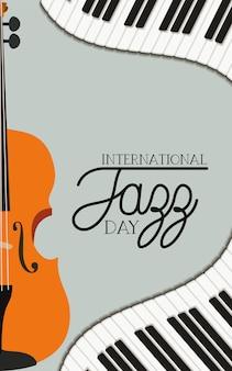 Plakat dnia jazzowego z klawiaturą fortepianową i skrzypcami