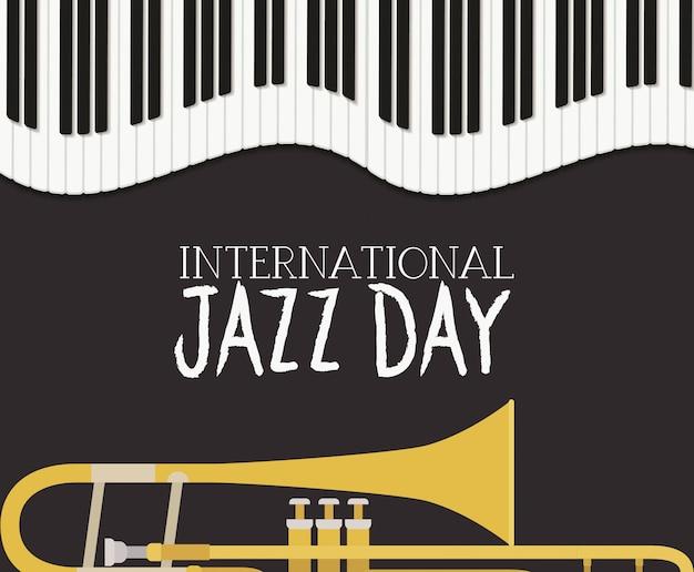 Plakat dnia jazzowego z klawiaturą fortepianową i trąbką