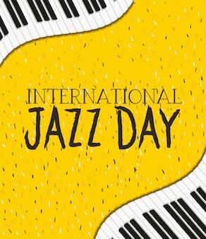 Plakat dnia jazzu z klawiaturą fortepianu