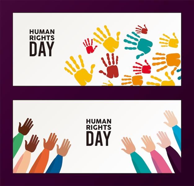Plakat dnia praw człowieka z kolorami rąk do druku ilustracji