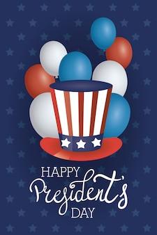 Plakat dnia prezydentów z usa tophat i balony z helem