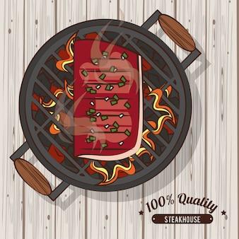 Plakat do grillowania w steakhouse