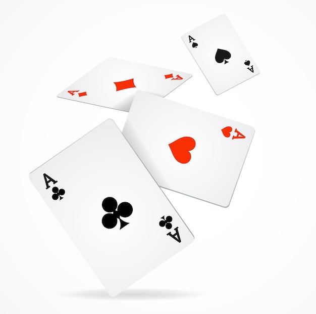 Plakat do gry w pokera. lecą cztery asy diamentów, trefl, pik i kier