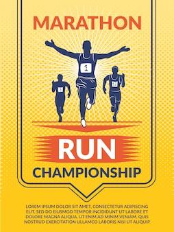 Plakat do klubu sportowego. maratończycy