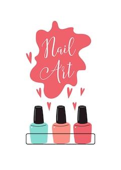 Plakat do manicure lakier do paznokci studio urody i salon na banery ulotki