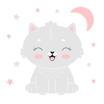 Plakat do pokoju dziecka z uroczym szarym kotkiem z różowym księżycem. prosta ilustracja wektorowa