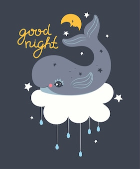 Plakat do przedszkola z wielorybem
