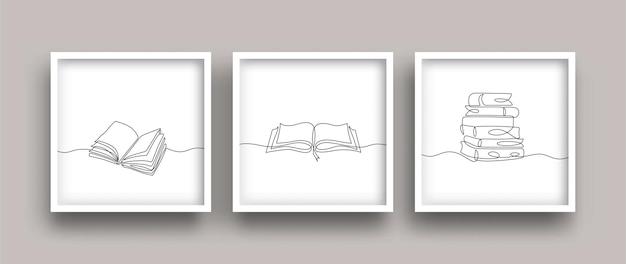 Plakat do rysowania linii książki zestaw minimalistyczny styl