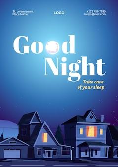 Plakat dobranoc z domami i księżycem na ciemnym niebie.