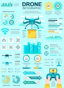 Plakat dostawy drona z szablonem elementów infografiki w stylu płaski