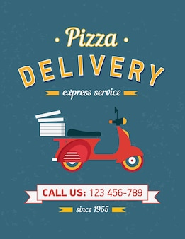 Plakat dostawy pizzy vintage z czerwonym moto rower