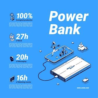 Plakat dotyczący banku mocy. bateria zewnętrzna, przenośna ładowarka do telefonu komórkowego i urządzeń cyfrowych.